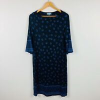 Blue Illusion Womens Dress Size Small Floral Long Sleeve Shirt Dress Black Blue