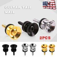 2Pcs Metal Guitar Strap Button Screw Lock for Electric Acoustic Guitar Bass US