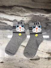 Gray Cute Cat Socks - Medium - USA SHIPPING