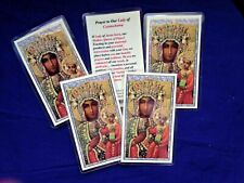 """NEW """" HOLY CARD """"Our Lady of Czestochowa"""" & Prayer,  LAMINATED  5 card set"""