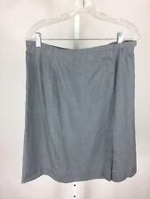 A/X Armani Exchange Womens Skirt Pencil Front Slit Size 12 Gray Linen Metallic