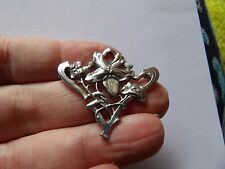 PRETTY ANTIQUE UNMARKED ART NOUVEAU STERLING SILVER BROOCH WL118-2