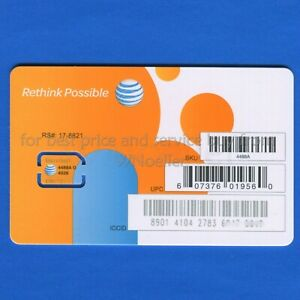 NEW Genuine AT&T Nano Sim Card • supports 4G LTE & 5G • Prepaid or Contract