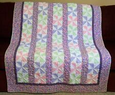 Handmade Quilt for Sale - Pink Green Purple  - Pinwheel - Professionally Quilted