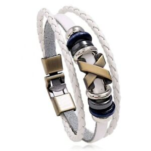 Fashion Leather Multilayer Bracelet Male Jewelry Vintage Braided Wrap Bracelets