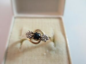 BEAUTIFUL PRE-OWNED 9ct GOLD SAPPHIRE & DIAMOND TRILOGY RING UK SIZE L1/2  1.4g