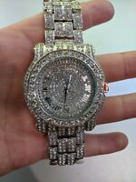 Fully Iced Men Watch Bling Rapper Simulate Diamond Silver Hip Luxury Club Party