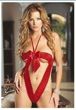 Red Bow Christmas Valentine's Day Red lace teddy lignerie one piece