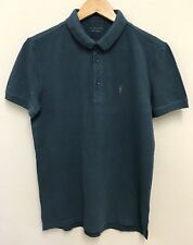 All Saints Sandringham Mens Blue Short Sleeve Polo Top Tshirt Cotton XS