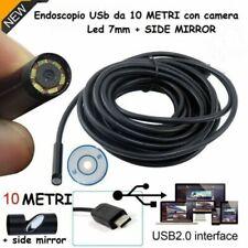 ENDOSCOPIO USB TELECAMERA ISPEZIONE FLESSIBILE 6 LED 10 METRI IMPERMEABILE SONDA