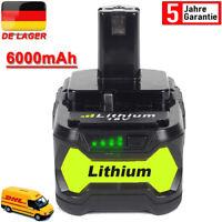 Für P108 Ryobi Akku 18V 6,0Ah Lithium Ionen Batterie One+ Plus RB18L50 P104 P107