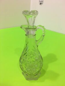 Vintage ornate 7.5'' Decanter oil vinegar Dispenser Bottle with Stopper.
