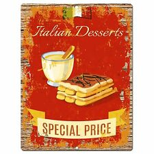 PP0926 ITALIAN DESSERTS Parking Plate Chic Sign Home Restaurant Kitchen Decor