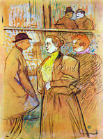 AT THE MOULIN ROUGE BY TOULOUSE LAUTREC 2 ARTIST PAINTING OIL CANVAS REPRO DECO