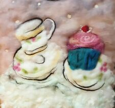 TeaTime Wool Painting Textile Art Fibre Art Felted Picture