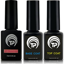 Gel Top and Base Coat plus pH Bond Aid. Premium triple pack soak off 15ml bottle