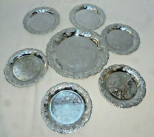 6 ORNATE SILVER PLATE WINE or DRINK COASTERS plus a MATCHING BOTTLE COASTER