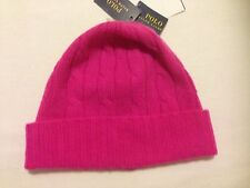 NWT Ralph Lauren Bright Pink Beanie Hat Cable Knit 100% Cashmere one size
