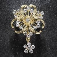 Large Crystal Unique Wedding Bridal Lady Rhinestone Brooch Pin Women Jewelry