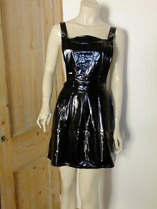 PVC-U-Like PVC Pinefore Bib Dress Shiny Black Plastic Mini XL Roleplay Skirt