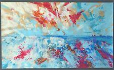 """Peinture abstraite sur papier, oeuvre originale signée HZEN : """"LE VENT SE LÈVE"""""""