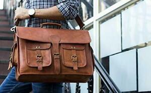 Goat Leather messenger cross-body shoulder vintage briefcase laptop large bag