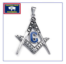 Square & Compass Masonic Necklace Pendant Steel w/ Chain ~ Free Shipping ~ $9.99