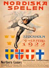 Vintage Ski Posters THE 1922 NORTHERN GAMES, SWEDEN, Art Deco Travel Print