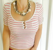 SPORTSGIRL WOMENS TOP BLOUSE FINE COTTON STRIPED WHITE RED NEW WITH TAGS SZ XXS