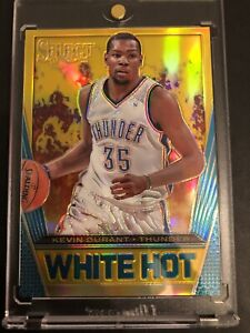 2013-14 KEVIN DURANT SELECT WHITE HOT GOLD REFRACTOR PRIZM SP INSERT #/10