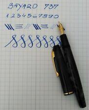BAYARD 737 Fountain Pen Blue Marble 18k Gold Flex Nib Excellent Vintage RARE