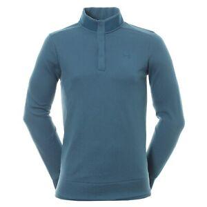 Under Armour UA Golf Storm Men's SZ S Sweater Fleece Snap Mock 1329832 414 Blue