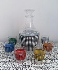 50s 60s Retro Vintage Harlequin Coloured Check Glass Decanter & Shot Glasses Set