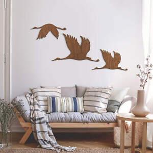 Holzkunst Mahagoni - Kraniche - Vogelschwarm 01 WANDDEKO HOLZ HOLZDEKO