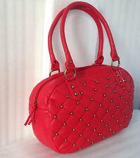 Woman Large Duffle Quilted Handbag Purse Satchel Bag New Red Golden Hardwar/Gift