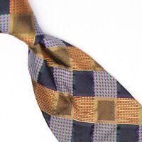 Gladson Mens Silk Necktie Gold Blue Red Purple Check Weave Woven Tie Italy