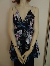 PAPER HEART Black Floral Sleeveless Top Sz 8 BNWOT