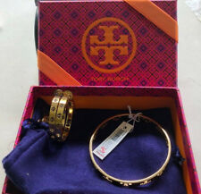 NWT Tory Burch Pierced T Thin Gold Tone Bangle & Hoop Earrings Gift Box & pouch
