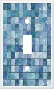 IMAGE OF GLASS TILE BLUE  LIGHT SWITCH COVER PLATE PLASTIC PLATES