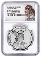 2016 Native Silver Dollar NY Mohawk - Raccoon 1 oz Silver NGC PF70 UC SKU52747