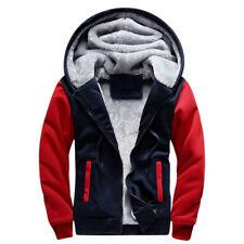 Men Fur Lined Winter Hoodie Jacket Thick Sherpa Fleece Hooded Sweater Coat Parka