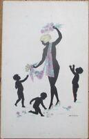 Risque Silhouette 1920 Manni Grosze/Artist-Signed Postcard: Woman, Children