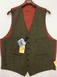 Mens Gurteen Herringbone Tweed All Wool waistcoat BNWT - Sizes 40-50 only