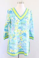 Gretchen Scott Blue Yellow / Green Bright Fish Print Tunic Top Blouse Nautical S