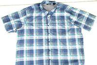 Wrangler Mens Outdoor Short Sleeve Blue Plaid Shirt Button Up Size 3XL