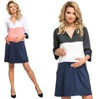 Happy Mama. Women's Maternity Jersey Colour Block Dress Pockets S-3XL. 303p