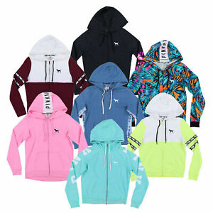 Victoria's Secret Pink Hoodie Full Zip Up Sweatshirt Pockets Drawstring New Vs