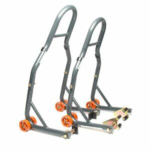MPW Race Dept Motorcycle Front and Rear Paddock Stand with L-Adapter Combo Pack