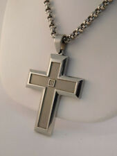 DIAMOND STANLESS STEEL CROSS PENDANT NECKLACE HEAVY HIP HOP STEAM PUNK 73 GRAMS