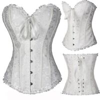 S M L XL 2X 3X 4X 5X 6X Sexy Bridesmaid Womens White Boned Overbust Corset Top